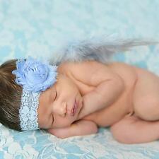 Newborn Baby Photograph Props Costume Flower Headband Feather Angel Wings