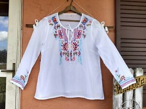 Kyla Seo XL White Embroidered LONG SLEEVE Cotton Blouse Top Anthropologie