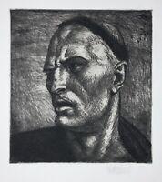 Porträt eines Mannes mit markantem Gesicht, signierte Radierung, 1921