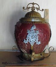 Antique Satin Ruby shade with Thistle Motif. -Brass Ornate Filigree
