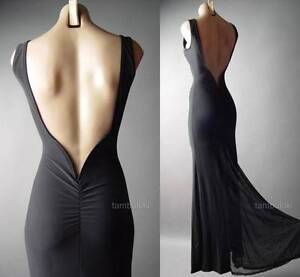 Sale Black Formal Backless Column Mermaid Ball Gown Tall Long 236 mv Dress S M L