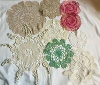 VINTAGE Bundle Lot of 9 Handmade Crochet Doilies Various Sizes