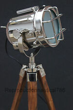 Vintage Industrial Chrome Floor Lamp With Tripod Marine Studio Searchlight