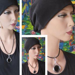 XL Design Damenkette 3 x Bänder Swa Kristall schwarz Anhänger erihoff