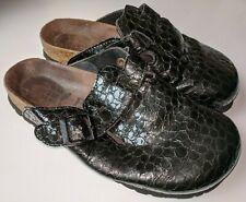 Birkenstock Betula L6 37 Black Croc Print Slide Soft Footbed Germany Clogs Mules