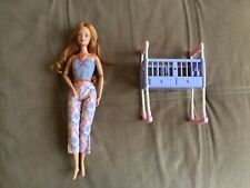 Mattel Barbie Midge Doll Happy Family Red Hair Freckles No Belly Purple Crib