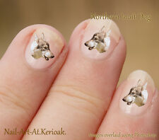 Northern Inuit, Wolf Dog, 24 Unique Designer Dog Nail Art Stickers