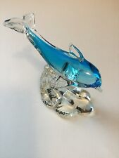 Murano Style Art Glass Porpoise Sculpture Figurine Cobalt 5�T x 5� L