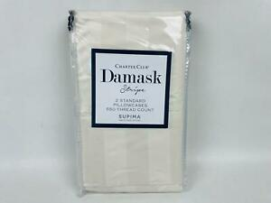 Pair of Charter Club Damask Striped 550 TC Standard Pillowcases Natural $70