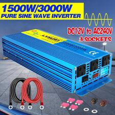 1500w 3000w pure sine wave power inverter DC 12v to AC 240v car converter camp