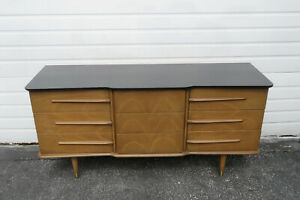 Mid Century Modern Dresser TV Console with Black Painted Top by united 1389