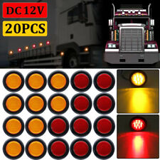 """20x 2"""" Inch Round Red / Amber Side Marker Clearance 10 LED Trailer Truck Lights"""