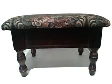 Vintage Wooden Foot Stool Flip-Up Storage Tapestry Padded Ottoman Cherry Finish