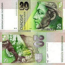 SLOVAKIA 20 Korun Banknote World Paper Money UNC Currency Pick p20d 1999 Bill