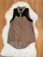 Urban Outfitters Staring at Stars Tan and Black Sleeveless Button Down Top M