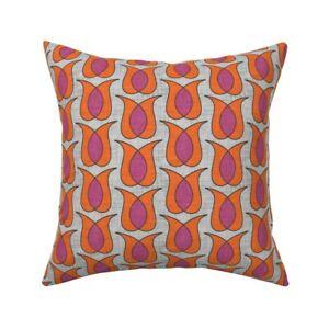 Pink Orange Geometric Throw Pillow Cover w Optional Insert by Roostery