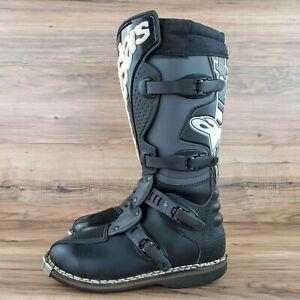"Alpinestars Motocross Racing Leather Boots Black/Tan, US 7/ EU 40.5, 15"" Tall"