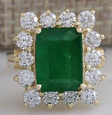 4.95 Carat Natural Emerald and Diamond 14K Yellow Gold Engagement Ring