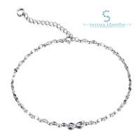 925 Sterling Silver 1mm Infinity Bow Elegant Anklet
