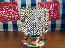 Bath & Body Works GOLD GEOMETRIC TILE PEDESTAL 3-Wick Candle Holder~ NEW