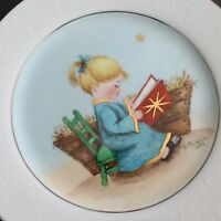 Vintage Hand Painted Signed Plate Christmas Lovelace China Manger Girl