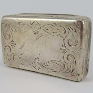 ANTIQUE CA. 1871 ALBERT COLES EQUESTRIAN ENGRAVED AMERICAN COIN SILVER SNUFF BOX