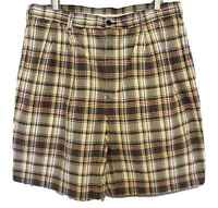 Jos A Bank Plaid Shorts Mens Size 36 Pleat Front Yellow Blue Green Red Cotton