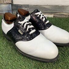 UK10 Footjoy Dryjoys Tour Golf Shoes - White/Black Croc - Waterproof - EU44.5