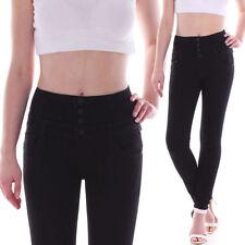 Hosengröße 38 Damen-Jeans aus Baumwollmischung mit hoher Bundhöhe