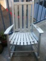 VTG Country French Shab Chic Beach White Slat Distress Wood Porch Rocking Chair