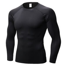 UK Mens Long Sleeve Gym Compression Base Layer Top Fitness Under Shirt Armour 2xl Black Red