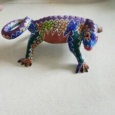 Vintage Oaxacan Wood Carving Lizard Folk Art- Signed