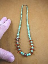 "(PB-422) Turquoise bead + orange Baltic AMBER chip beaded 19"" long NECKLACE"