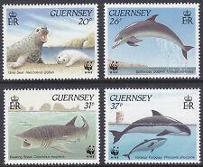 GUERNSEY 1990 WWF WORLD WILDLIFE FUND MARINE LIFE STAMP SET MNH SG 501-504