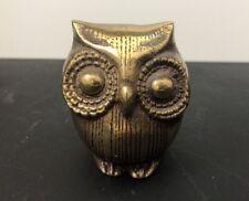 "Vintage Brass Owl Statue Figure Figurine Paperweight Ornament 2.75"""