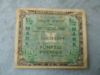 WWII US Army 1/2 Mark Germany Invasion Allied Currency Paratrooper 1944 WW2