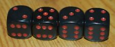 DUDDS DICE BLACK OPAQUE w/RED DOTS VALVE STEM CAPS (4 PACK) #41