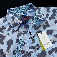 Robert Graham Geometric Blue Camo Print Short Sleeve Sports Shirt XL