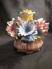 Vintage Capodimonte  Centerpiece Porcelain Flowers In Basket