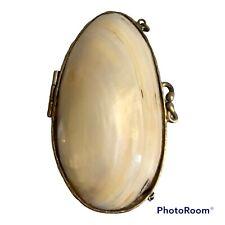 Vintage Antique Mother Of Pearl MOP Bivalve Shell Velvet Lined Trinket Box