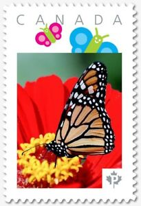 BUTTERFLY on red flower =  Picture Postage stamp Canada 2018 p18-07s18