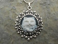 KITTY CAT CAMEO NECKLACE PENDANT (white/black) 925 PLATE CHAIN- QUALITY!!!
