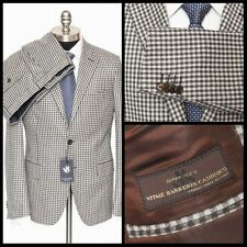 $1295 NWT SARTORE Gingham Plaid Super 120s Wool Flat Front 2Btn Suit 50 7R 40 R