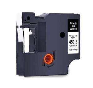 """Black on White Label Tape Compatible w Dymo D1 45013 12mm 1/2"""" X 23'"""