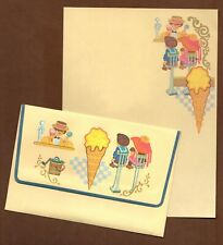 Vintage Ice Cream Parlour Stationery Set 1970s Retro Boy Girl Envelopes Boxed