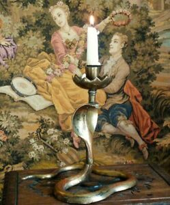 Vintage brass Cobra Snake candlestick candle holder