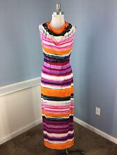 Calvin Klein S 4 Pink Orange Stripe belt maxi Dress Cowl Neck Stretch Excellent