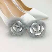 1 Pair Mink Fur Pompom Shoe Clips Fluffy Ornament Shape of Rose Heel Boot Adorn