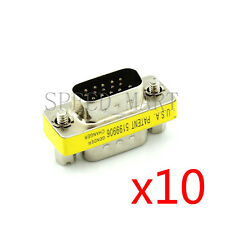 10 X 15 Pins HD VGA KVM SVGA XGA DB15 Male to Male Serial Cable Coupler Adapter