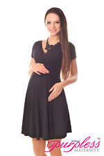 806bdc4b2ed7 Maternity Short Sleeve Summer Dress Pregnancy Size 8 10 12 14 16 18 8417  Black 12